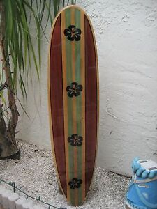Image is loading Tropical-Decorative-Wood-Surfboard-Wall-Art-for-a- & Tropical Decorative Wood Surfboard Wall Art for a Coastal Beach Home ...