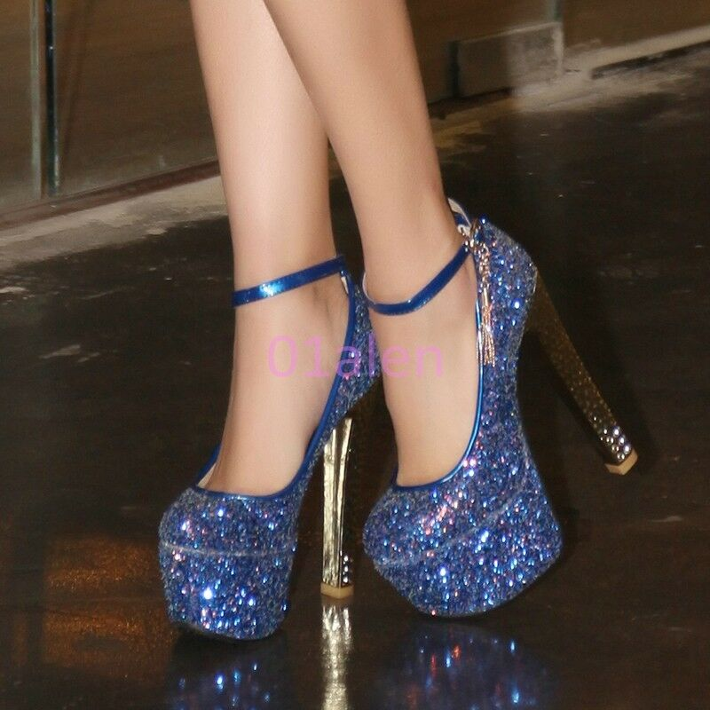 Le Prom donne Bling Bling Prom Le Club Sexy Plateau Scarpe Col Tacco Grosso Strass Glitter 395891