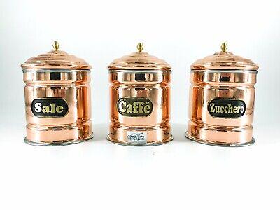 SET 3 PEZZI SALE ZUCCHERO CAFFE in rame con interno in acciaio inox 1 kg
