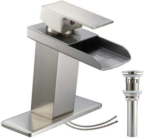 Bathroom Faucet Brushed Nickel Waterfall Lavatory Sink Vanity Single Hole Pop Up