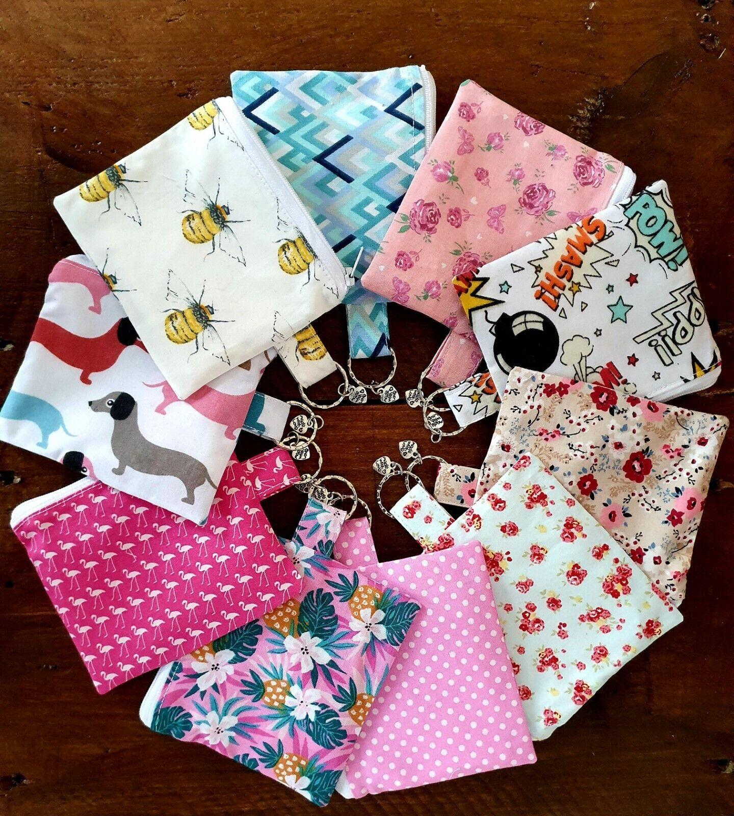 Handmade coin/ card purse with key holder! Bees, flamingo, dachshund, comic!