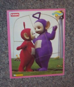 TELETUBBIES-WOOD-FRAME-TRAY-PUZZLE-PLAYSKOOL-WOODEN-PURPLE-TINKY-WINKY-amp-PO