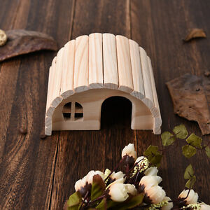 Natural Wooden House Bed Cage Hide Hut Toys For Hamster Mouse Tortoise Rabbit