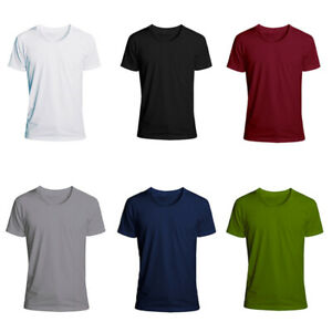 Mens-T-Shirts-For-Men-Short-Sleeve-Shirt-Casual-S-Sports-5XL-Slim-Fit-Round-Neck