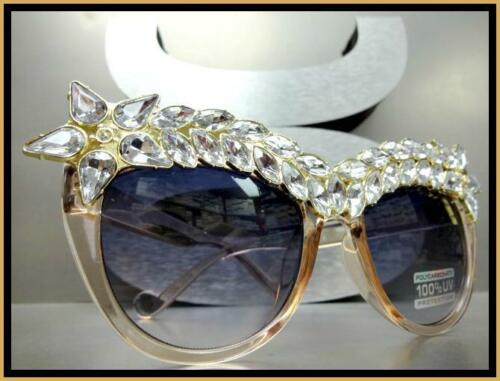 Oversized Exaggerated Retro Cat Eye Style SUN GLASSES Sparkling Star Crystals