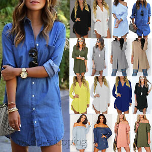 Fashion-Women-039-s-Long-Sleeve-Casual-Blouse-Ladies-Loose-T-Shirt-Tops-Mini-Dress