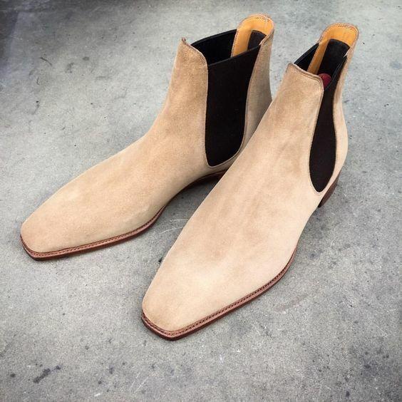 Hecho a mano Hombres Beige Gamuza Chelsea botas, Hombres Beige Informal botas al tobillo, botas de hombre