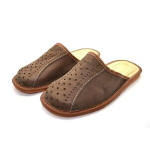 Mens-Leather-Slippers-Mules-Brown-Size-6-7-8-9-10-11-12-Flip-Flop-Sandals-UK
