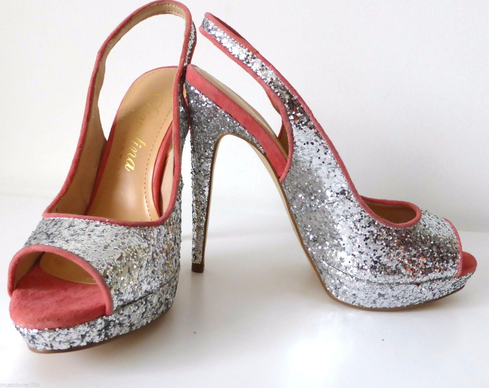 DIAVOLINA - NEW -  Sling Größe 6.5  Silver Sling  Back High Heel Open Toe Schuhes c8efc5