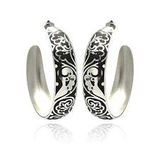Stainless Steel Black Enamel Flower Design Hoop Earrings
