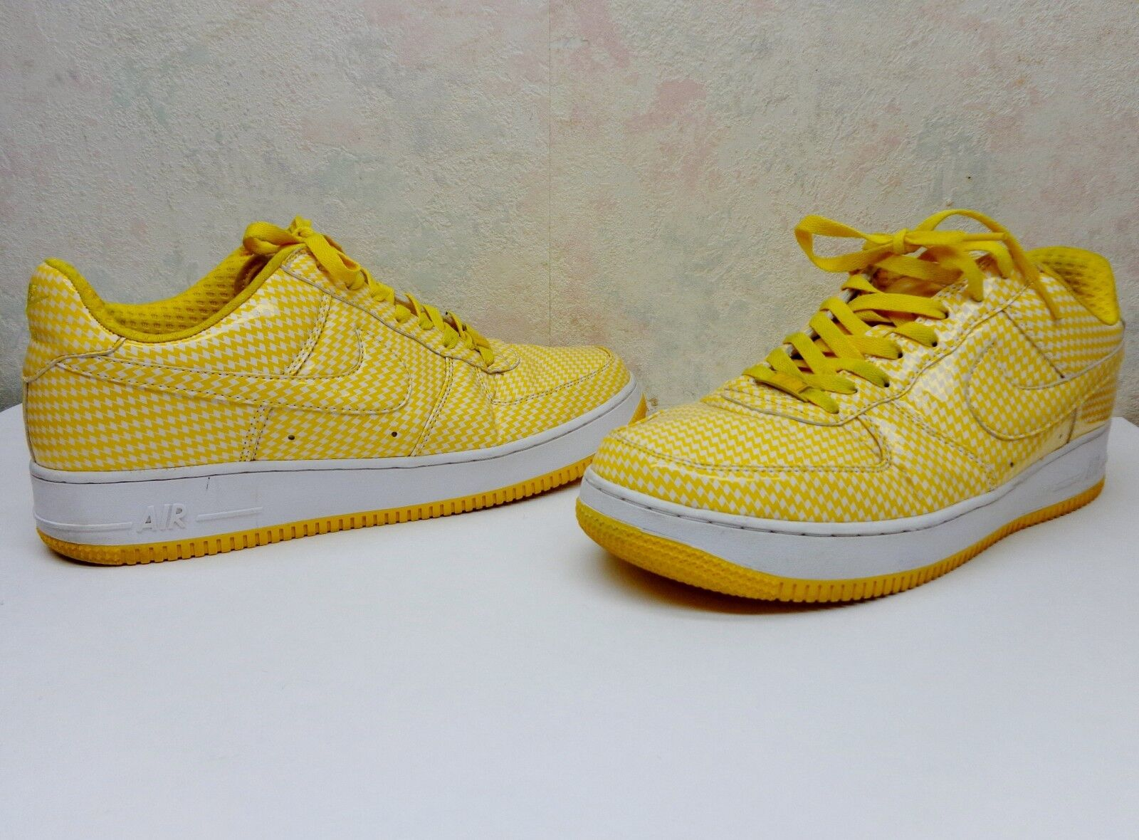 Nike Air Force 1 AF-1 '82 Size 12 Mens shoes Clear Canary Yellow Gingham VgC