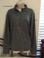 $48 Xersion 1x Plus Gray Quarter Zip Pullover Quick-dry Shirt Thumb Holes