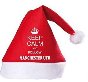 Restez calme et suivez Manchester Utd Noël hat.secret Santa Cadeau  </span>