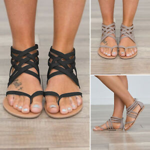 77395c02b8e497 Women s Flat Heel Gladiator Sandals Summer Beach Ankle Strap Shoes ...