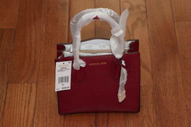 Michael Kors Mercer Studio Messenger Tote Mulberry Crossbody Leather ... 439c83098a