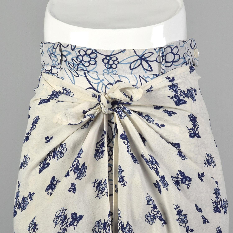 XS 1990s Blue White Maxi Skirt Bohemian Long Laye… - image 5
