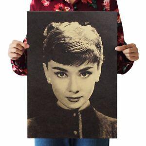 Details about US SELLER- bedroom decor inspiration Audrey Hepburn kraft  paper retro poster