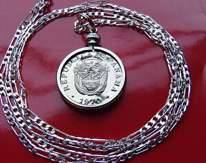 PANAMA-Coat-of-Arms-Mint-Coin-BEZEL-PENDANT-on-a-30-034-925-STERLING-SILVER-CHAIN