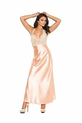 Satin Nightgown Long Peach Lace Solid Gown Halter S-3X Plus ELEGANT MOMENTS NEW
