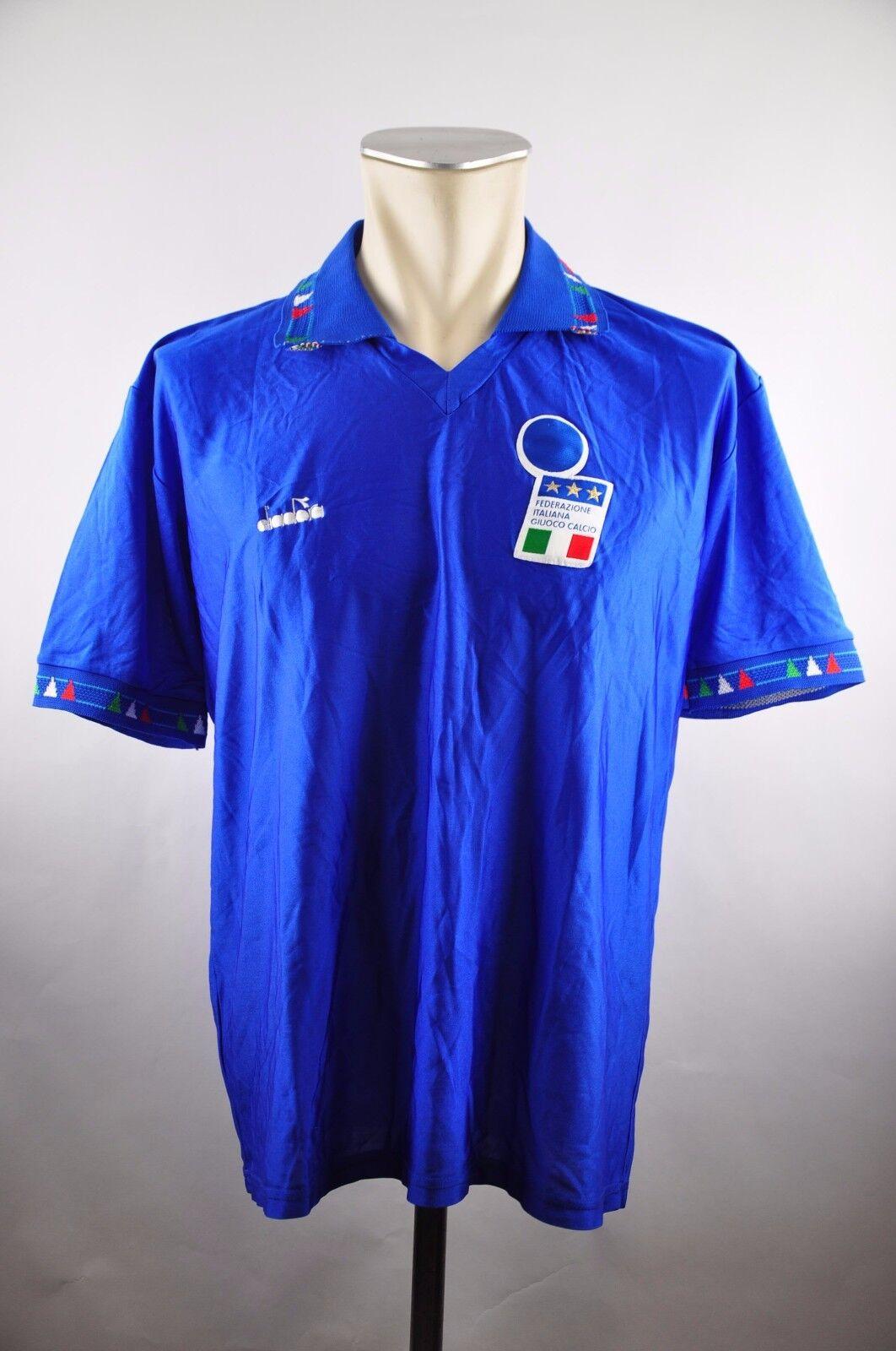 Italien Trikot 1992 Gr. XL vintage vintage vintage Jersey EM Home blau  maglia Diadora WM 63f051