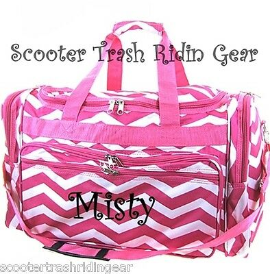 """PERSONALIZED 22"""" duffle bag tote pink white chevron zigzag print monogrammed NEW"""