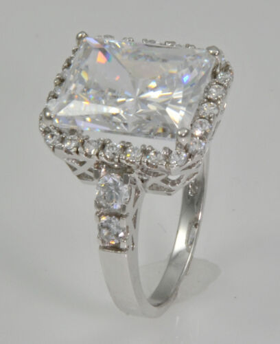 5 ct Radiant Cut Ring Top Russian Quality CZ Extra Brilliant Stunning SS Size 5