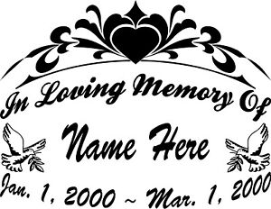 In loving memory of dove 11 large decal window memorial for Memory cross template
