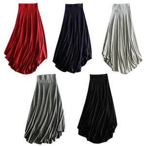 AU-Women-Ladies-MAXI-SKIRT-Modal-Dress-High-Waist-Long-Beach-Swing-Skirt