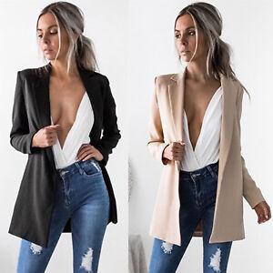 damen lange blazer anzug sakko jacke mantel witerjacke business freizeit tops ebay. Black Bedroom Furniture Sets. Home Design Ideas