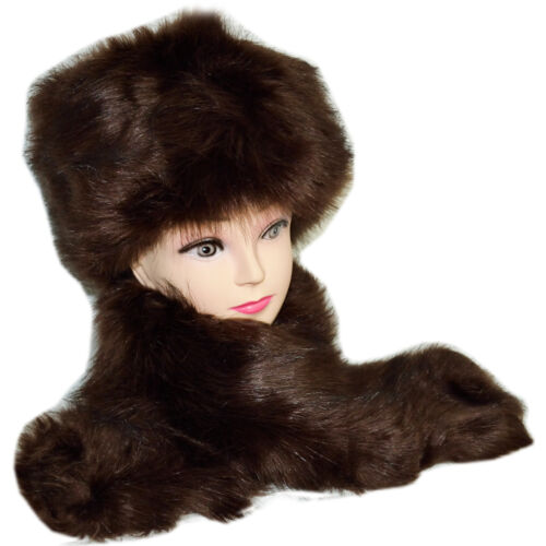 Russian Style Faux Fur Hat Cap Ear Warmer /& Collar Scarf Neck Warmer Xmas Gift