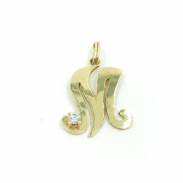 14K Yellow Gold Initial Letter Heart Pendant Charm Cursive Alphabet Diamond Cut