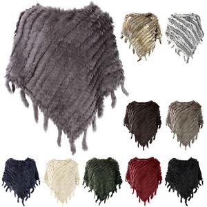Glamexx24-Damen-Poncho-Echtfell-Hasenfell-Pulli-Pullover-Mantel-Jacke-Schal