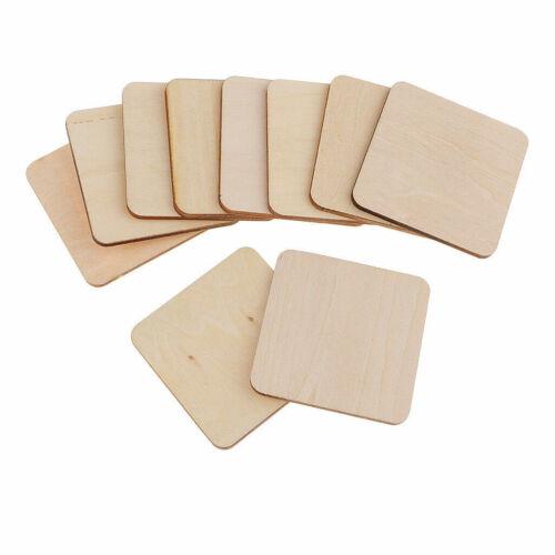 50 Wooden Square Shape Coasters Plain Wood Craft Blanks Squares Unfinished DIY