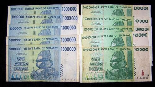 10 x Zimbabwe banknotes 5 x 1 Million//5 x 1 Billion-circulated currency