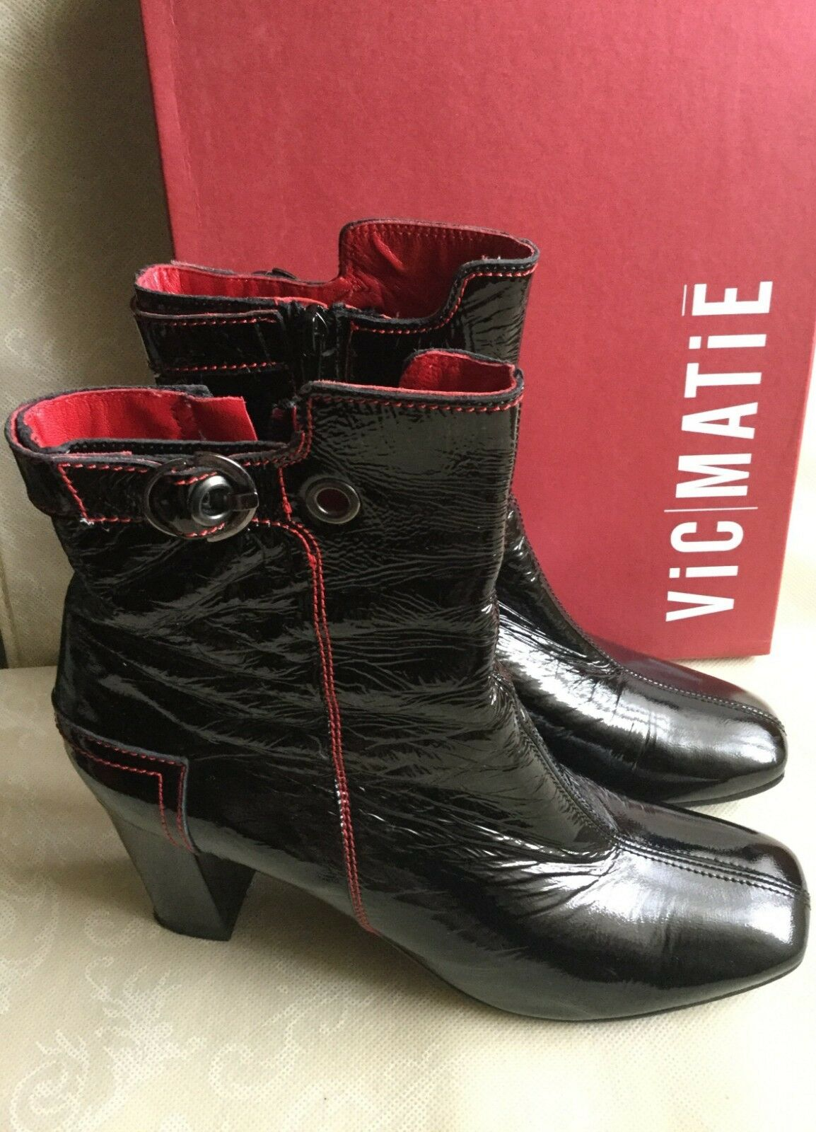 VIC MATIE Woman ankle Stiefel, number schwarz color, number Stiefel, 41, tunder Leder  Tronchetto 2b292d