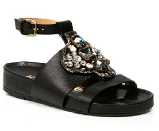 KALLISTE Open Toe  Sandals Jeweled Flatbed  Black Size uk 3 eu 36  -