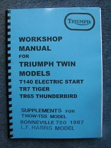 Triumph Tr7rv T140 E S Tss Tr65 Harris Bonneville Workshop Manual Book Tw36 Ebay