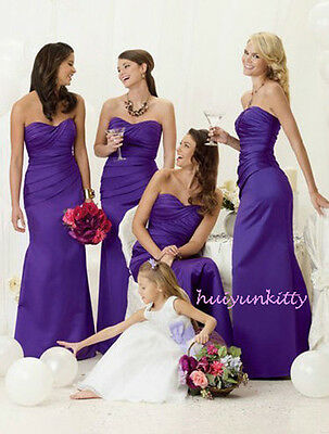 Cadbury purple satin evening wedding bridesmaid dress SZ 8-22 lace up back