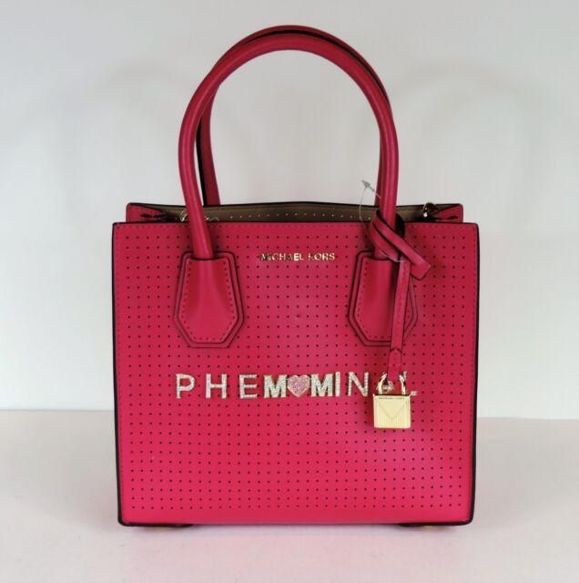 7b78467fe81817 New Michael Kors Mercer Perforated Medium Messenger Phemominal MOM Ultra  Pink