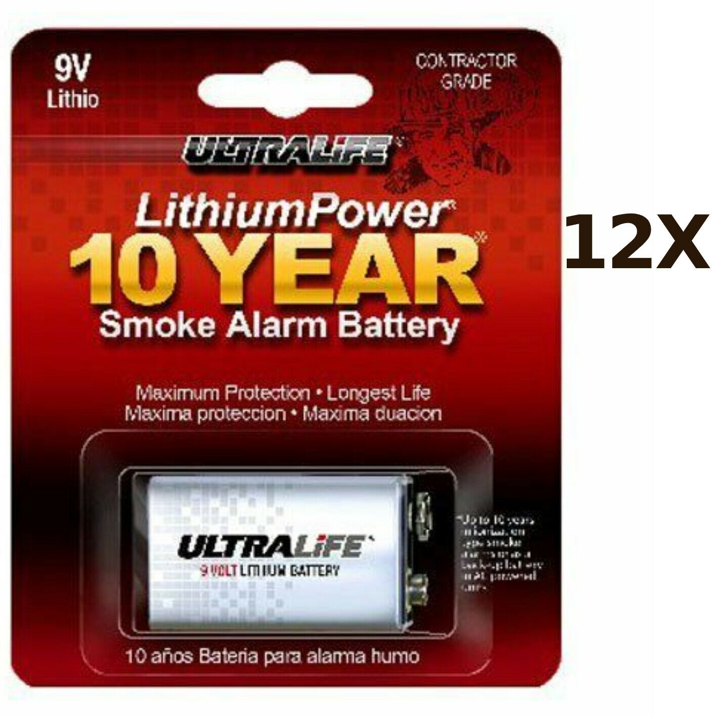 12X Ultra Life Batteries 9v Lithium High Energy Up to 5x More Than Alkaline