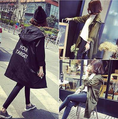 Korean Women Hooded Loose Zip Long Coat Jacket Trench Windbreaker Parka Outwear