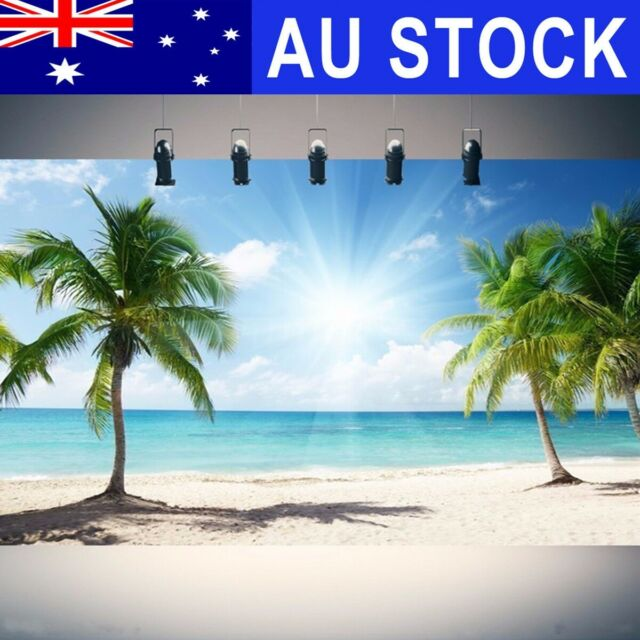 AUS 7x5FT Vinyl Palm Tree Sea Beach Photography Backdrop Photo Background Props