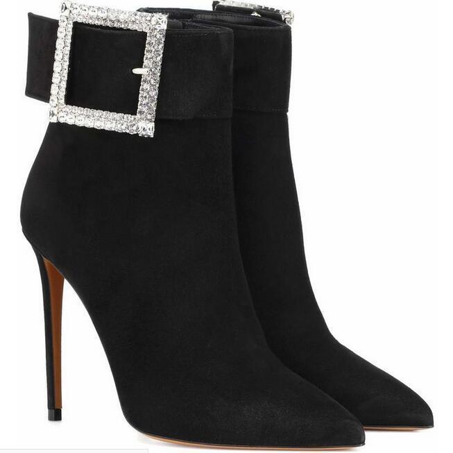 Sexy Womens Womens Womens Rhinestone Wedding Pointy Toe Mid Calf High Heel shoes Uk Sz35-45 27a1c5