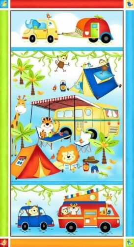 "Baby Animal Camping Trailer Car Cotton Fabric Studio E Jungle Camp 24/""X44/"" PANEL"