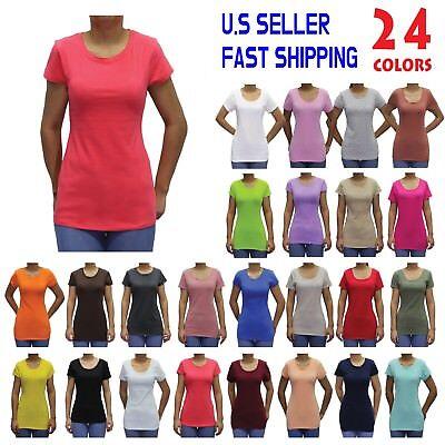 Women Basic Short Sleeve Stretch Crew-Neck Plain Top Solid Color T Shirt S-3XL