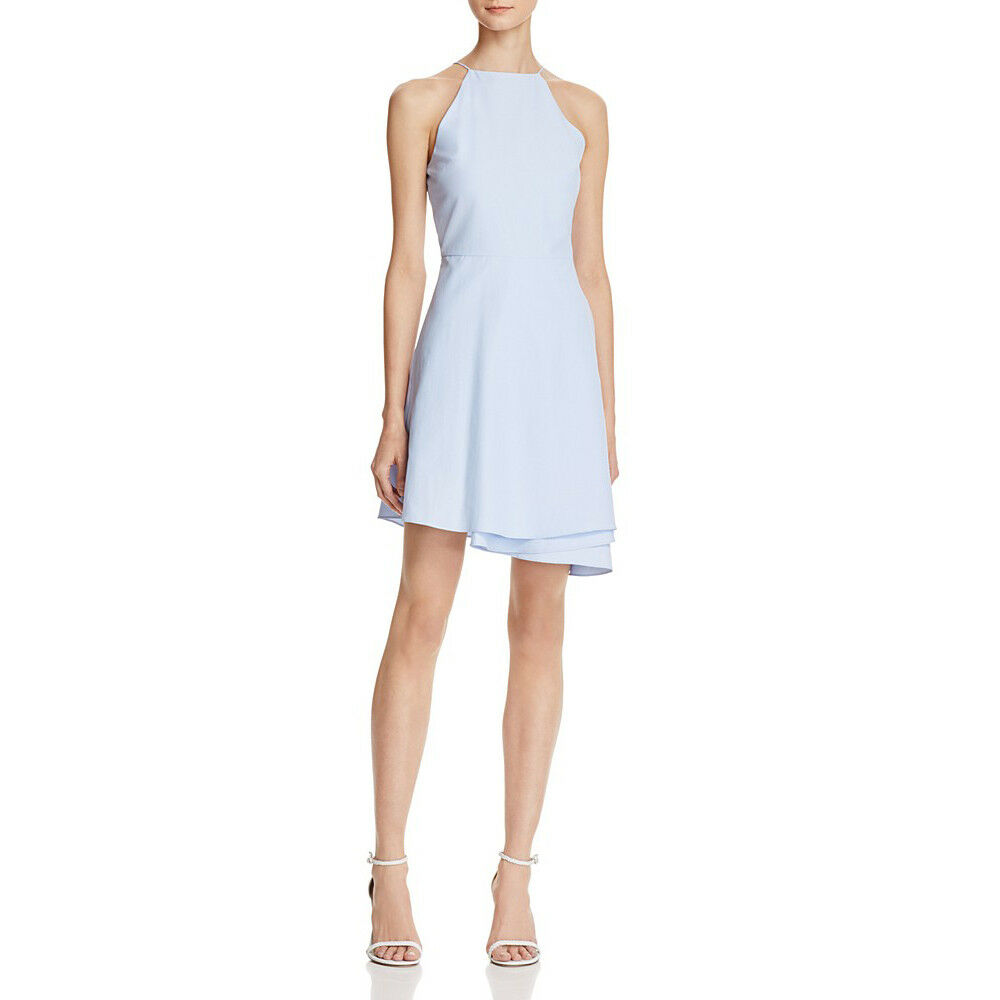 JOA J.O.A. Sky bluee Asymmetrical Folded Skirt Fit &Flare Sleeveless Dress S