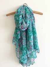 LADIES FUN BOLD AQUA GREEN FLORAL MIX PRINT SOFT OVERSIZED SCARF WRAP COVER UP