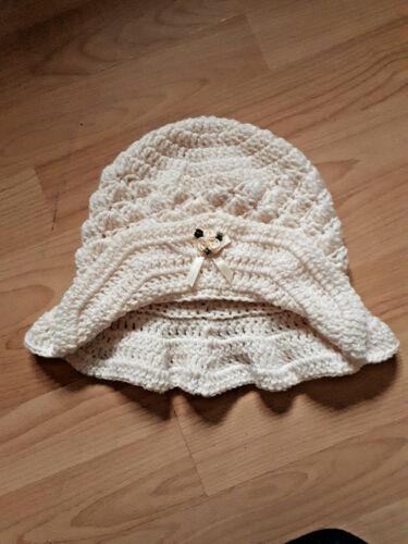 Handmade Hand Crocheted Baby Girl Paddington Mop Hat 100/% Acrylic various cols.