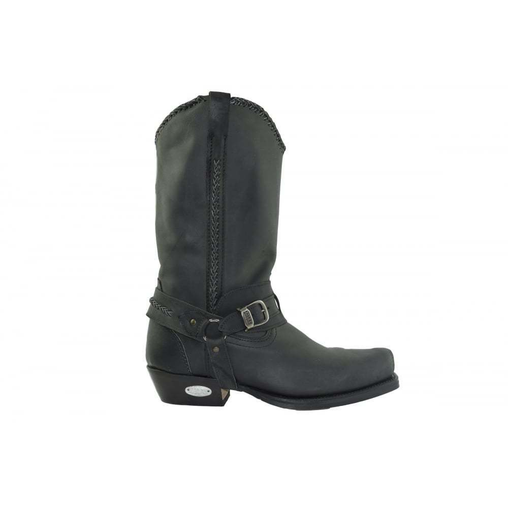 Loblan 548 Black Waxy Leather Mens Cowboy Boots Western Biker Square Chisel Toe