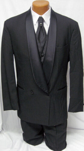 Mens Black DB Shawl Lapel Wool Tuxedo Coat w// Pants Wedding Prom Debutante 38L